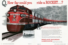 """""""How far could you ride a rocket?"""" asks this vintage advertisement featuring the Rock Island Rockets"""