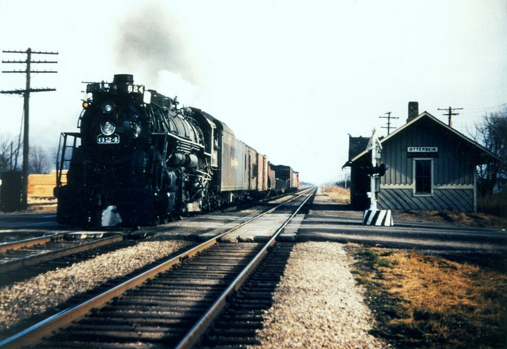 624 on a freight in Otterbein, Indiana. November 16th, 1952. Sandy Goodrick photo, Ray Breyer Collection.